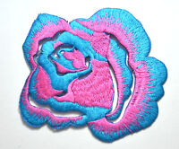 PINK & BLUE ROSE FLOWER  Embroidered Sew Iron On Cloth Patch Badge APPLIQUE