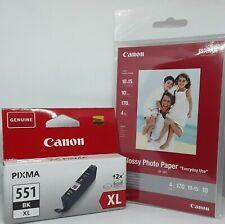 Canon 551 BK XL schwarz + Glossy Fotopapier,original Tintenpatrone für Pixma IP