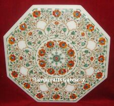 Marble Pietra Dura Inlay Work Table Top, Marble Inlay Handmade Table Tops