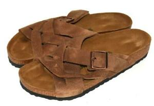 BIRKENSTOCK LUGANO Camberra Old Tobacco Brown Leather Sandals Sz 43 US 10 Men's