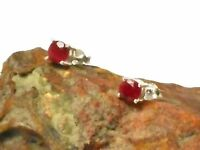 RUBY  Sterling  Silver  925  Gemstone  Ear  STUDS  -  5 mm  -  Gift  Boxed