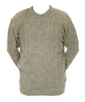 Mens L XL New Crew Neck Beige Grey Mix Jumper Acrylic Wool Pullover Sweater
