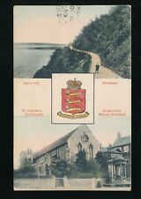 Somerset MINEHEAD bi-view Heraldic used c1900s PPC
