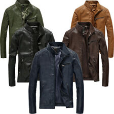 New men's PU leather washed jacket motorcycle rider zipper slim fit jacket