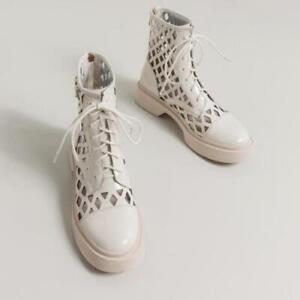 Women's Fashion Leather Cutout Breathable Lace Up Combat Ankle Boots Shoes GCOC