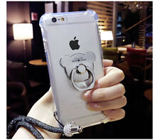 Shockproof Soft Clear Rugged Case Cover with Cute Bear Ring Holder Stand & Strap