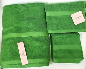 NEW 3 PC KATE SPADE GRASS GREEN 100% COTTON BATH,HAND TOWEL,WASH CLOTH