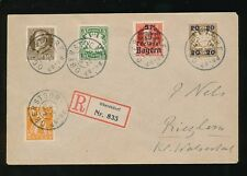 GERMANY BAVARIA 1920 REGISTERED MIXED ISSUES 5 stamps