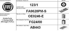 123/1 KIT FILTRI TAGLIANDO EURO 4 FIAT GRANDE PUNTO 1.3 MJT KW 55 CV 75 PURFLUX