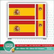 4 x SPANISH / SPAIN FLAG VINYL CAR VAN IPAD LAPTOP STICKER