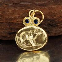 925 Sterling Silver Blue Iolite Bear Coin Pendant Turkish Handmade Fine Jewelry
