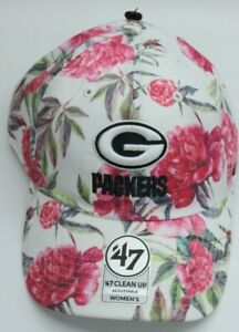 Green Bay Packers Hat 47 Clean Up Adjustable Cap '47 Nwt NFL Floral Strapback