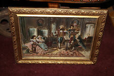 Antique Victorian Celluloid Painting-Victorian Women Musicians-Signed-Bubble GLS