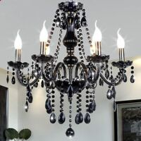 Black Crystal Chandelier Elegant Home Room Ceiling Pendant Hanging Fixture Decor