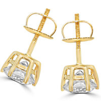 4.00 Carat Diamond Earrings Stud Solid 14K Yellow Gold Women Studs VVS1/D