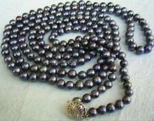 """Fashion Natural 7-8mm Black Akoya Cultured Pearl Necklace Long 50"""" AAA"""
