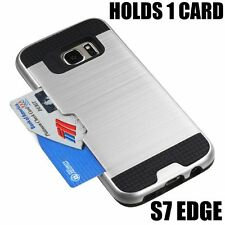 For Samsung Galaxy S7 Edge - HYBRID CREDIT CARD SLOT HOLDER CASE SILVER BRUSHED