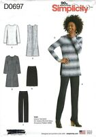 Simplicity D0697 Tunic, Duster, Jacket, Skirt & Pants Sz 6-24 UNCUT Pattern 8265
