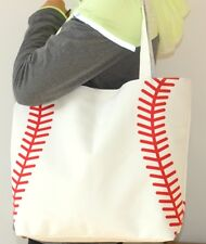NEW White Baseball Stitch Totes Shopping Bag Tote Mom Purse Carrier Lined Beach