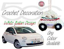 Handmade Crochet Fiat 500 Hanging Decorations Accessories - White Italian Design