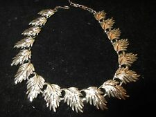 Lisner Statement Necklace Collar Silver Tone Leaf Leaves Vintage Antique Estate