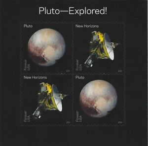 Pluto-Explored! Souvenir Sheet of 4 Forever Postage Stamps Scott 5078