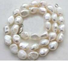 Woman 17'' Necklace 10mm white baroque pearl real natural freshwater pearl 42cm