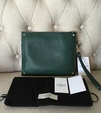 NWT AUTH VALENTINO GARAVANI NAPPA LEATHER GREEN CLUTCH BAG WRISTLET WALLET