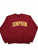 Vintage MV Sport Sweatshirt Medium Simpson USA College Sport Jumper Wine Red M