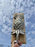 Vintage WELCOME PINEAPPLE Silver Pewter Primitive Country Wall Hook ❤️sj14m1