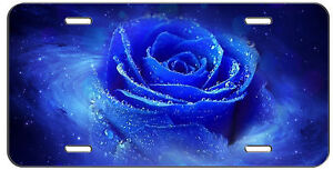 LICENSE PLATE BEAUTIFUL BLUE ROSE AUTO TAG