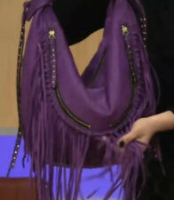 orYANY Angie Leather Rare Find Purple Handbag Shoulder Bag Purse Fringe