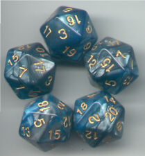 NEW RPG Dice Set of 5 D20 - Twisted Aqua-Silver