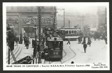 Trams in Sheffield. Routes A,B,D & W in Fitzalan Square c1902 Pamlin Prints Card