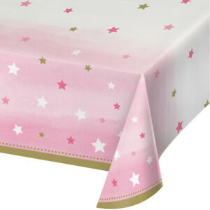 One Little Star Girl Plastic Party Table Cover Table Cloth All Over Print Pink