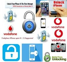 Vodafone UK official factory unlock code iPhone 4/5/6/7/7+/8/8+/X Number Require