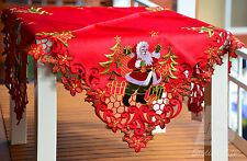 "Red Square Christmas Table Cloth, Embroidered Santa, 88x88cm (36"") FFD001"