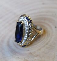 Turkish Handmade Jewelry Sterling Silver 925 Sapphire Ladies Ring Size 7 8 9