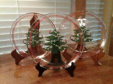 """Set Of Three Waechtersbach Christmas Tree 7 3/4"""" Glass Dessert Plate Red/Green"""