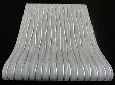 13590-30) moderne Vliestapete Retro-Welle in grau, hellgrau und silber mit Glanz