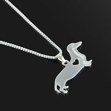 Stunning Silver Tone Dachshund Dog Necklace.With Organza Bag ..