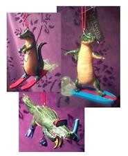 6 Gator Ornaments Surfing, Snorkeling, Water Ski by Cannon Falls NEW Alligator