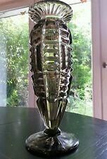 Art deco Glas Vase rauchglas signiert gemarkt gross schwer Böhmen