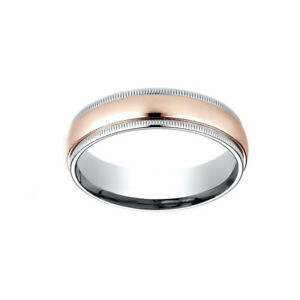 Comfort-Fit Polished Carved Milgrain Men's Band Ring 14K Two-Tone Gold 6 MM