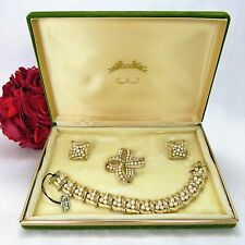 Vintage Crown Trifari wedding set: Bracelet, Pin & Earrings, BRAND NEW in box