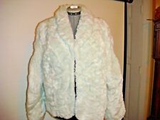 NWT TERRY LEWIS faux fur scrunchy coat jacket motorcycle 1X Baby Blue
