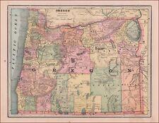 OREGON, Antique Map, Original 1891
