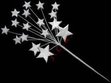Silver icing shooting star burst birthday etc cake topper decoration (m)