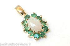 9ct Gold Opal and Emerald Pendant no chain Gift Boxed Made in UK