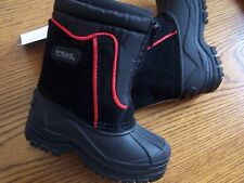 NWT TOTES KIDS BLACK with RED STRIPE WATERPROOF LINED ZIPPER SNOW BOOTS SZ 5